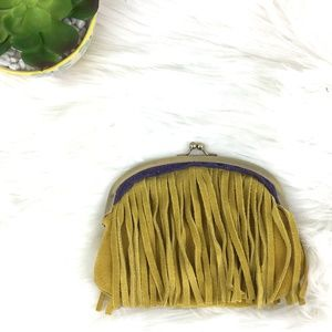 Vintage Style Mustard Leather Fringe Coin Purse